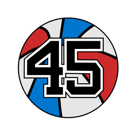 ball of basketball symbol with number 45