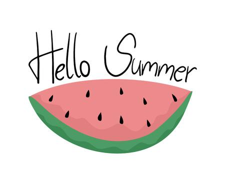 안녕하세요 여름 메시지와 함께 수박 스톡 콘텐츠 - 82578815