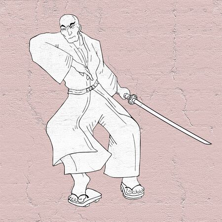 samurai draw Stock Photo