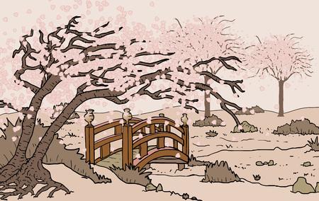 Oriental Bridge In Field