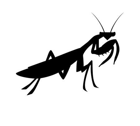 Mantis silhouette design Vettoriali