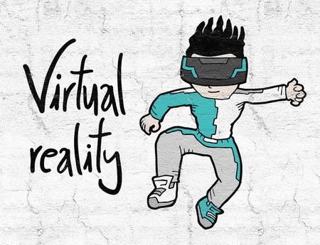 virtual reality kid Stock Photo