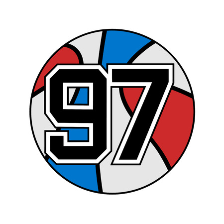 A ball of basketball with the number 97 illustration.