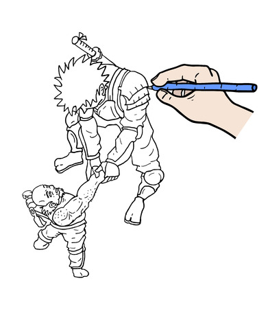 warriors: hand drawing Illustration