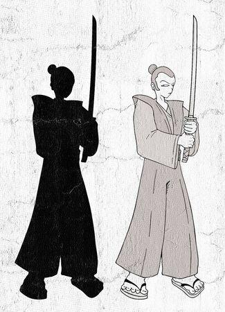 samurai illustration Stock Photo