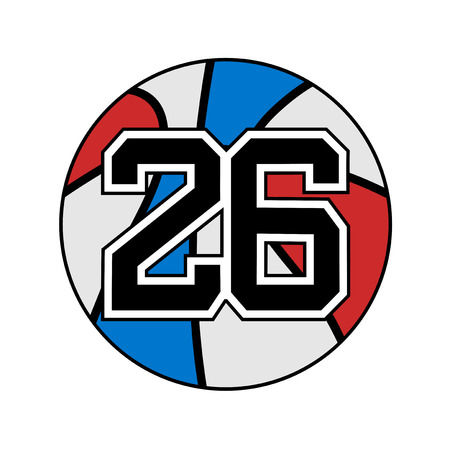 ball of basketball symbol with number 26