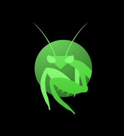 Creative mantis icon on black background.