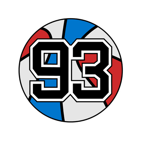 Ball of basketball with the number 93.