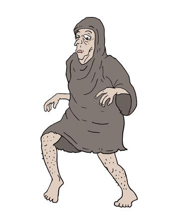 歩く老人  イラスト・ベクター素材