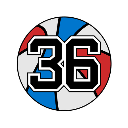 six objects: ball of basketball symbol with number 36