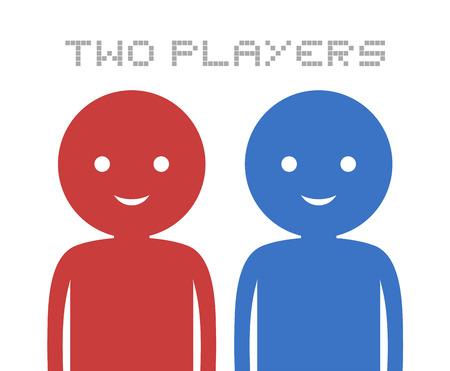 Twee spelers pictogram Stock Illustratie