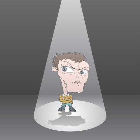 Cartoon man in focus light icon. Ilustração