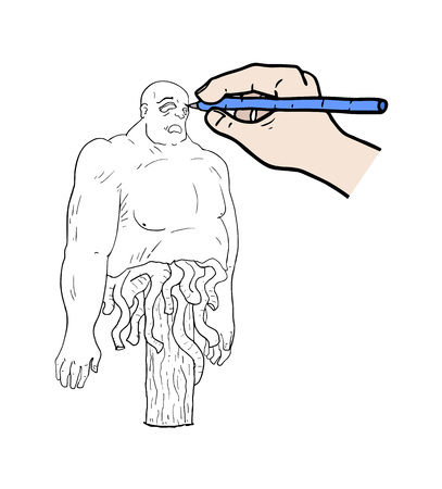 Hand drawing a monster Illustration