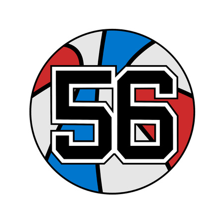 six objects: ball of basketball symbol with number 56