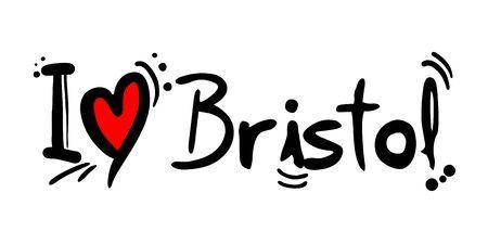 Bristol love message Vector illustration.