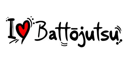 Battojutsu love message Vector illustration.