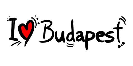 Budapest city of Hungary love message Иллюстрация