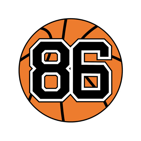 six objects: ball of basketball with the number 86