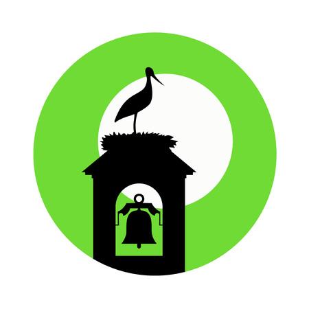 stork in tower bell illustration Illustration