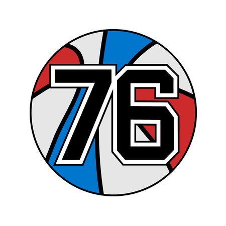 six objects: ball of basketball symbol with number 76