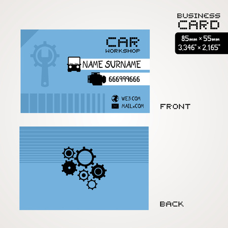 visiting card: workshop car business card
