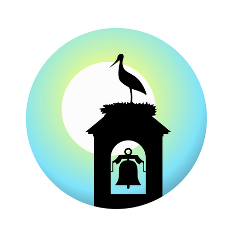 鐘楼のコウノトリ  イラスト・ベクター素材