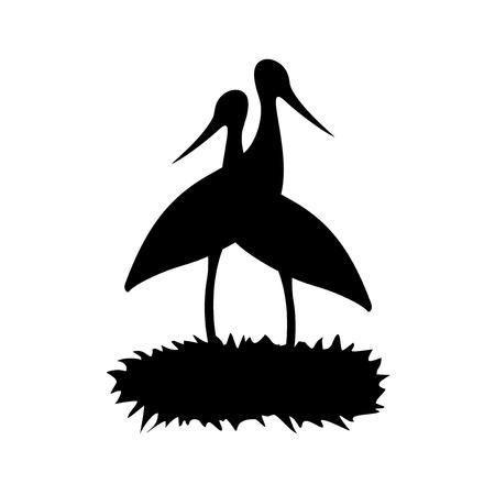 stork in nest illustration Ilustrace