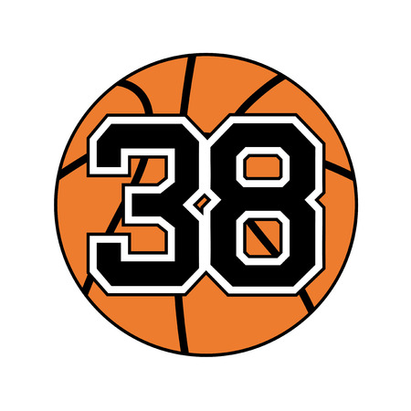 ball of basketball symbol with number 38