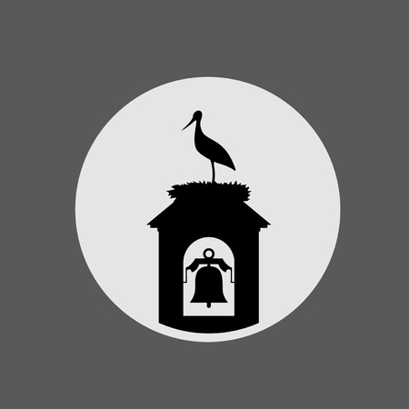stork in tower bell illustration Çizim