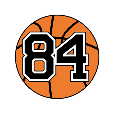 four objects: ball of basketball with the number 84 Illustration