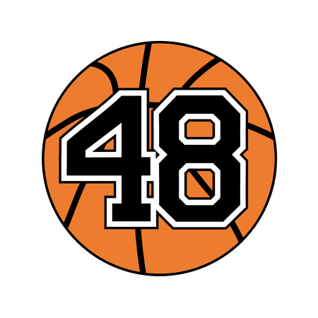 ball of basketball symbol with number 48 Illustration