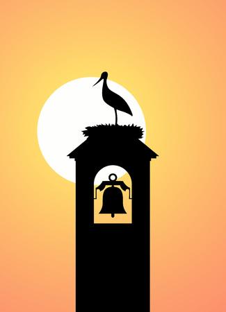 stork in tower bell illustration Stock Vector - 87929588