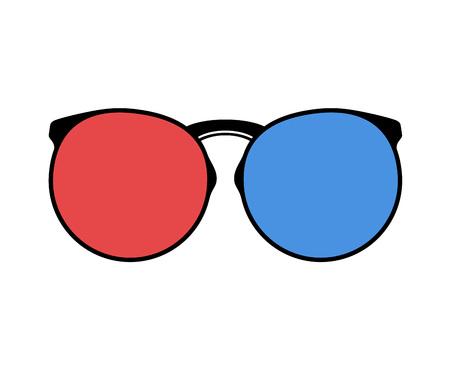 red and blue glasses Ilustração