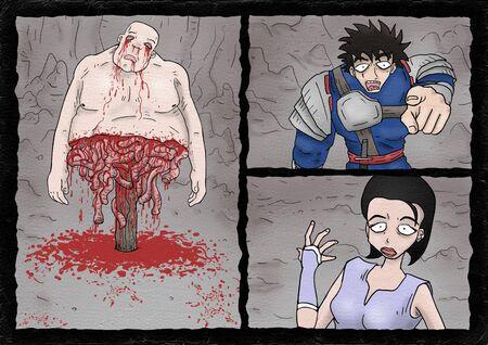 Creative comic scene illustration Stock Photo