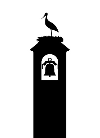 stork in tower bell illustration Illustration