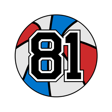 Ball of basketball with the number 81 Illustration