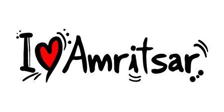 Amritsar love message isolated on white Illustration