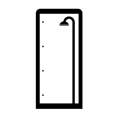 Thin line shower cubicle isolated on white Ilustração
