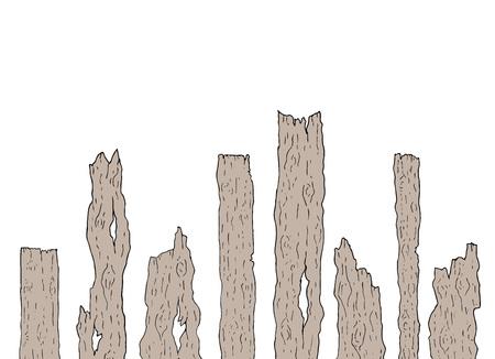 Viejos pedazos de madera Ilustración de vector