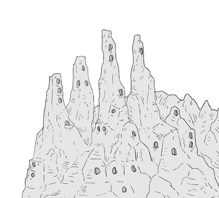 Fantasy mountains vector illustration