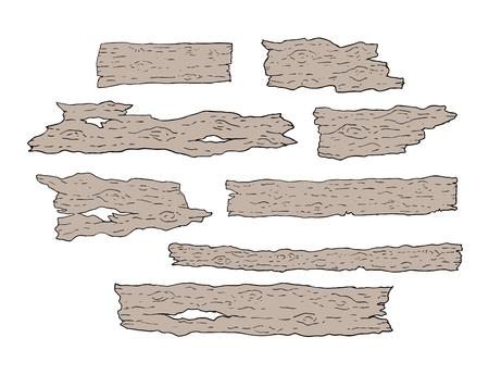 Viejos pedazos de la ilustración de madera en el fondo blanco. Ilustración de vector