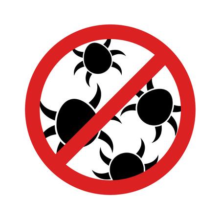 Tick insect symbol illustration on white background.