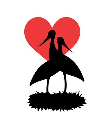 Love stork illustration on white background. 일러스트