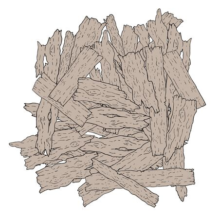 Old pieces of wood illustration on white background.