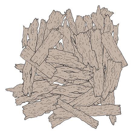 Partes velhas da ilustração de madeira no fundo branco.