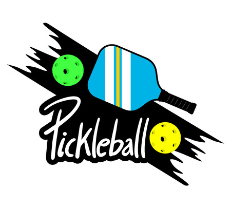 Pickle ball racket illustration on white background. Çizim