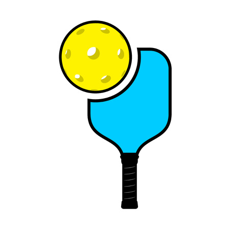 Pickle ball racket illustration on white background. Illustration