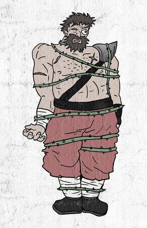 전사가 갇혔다.