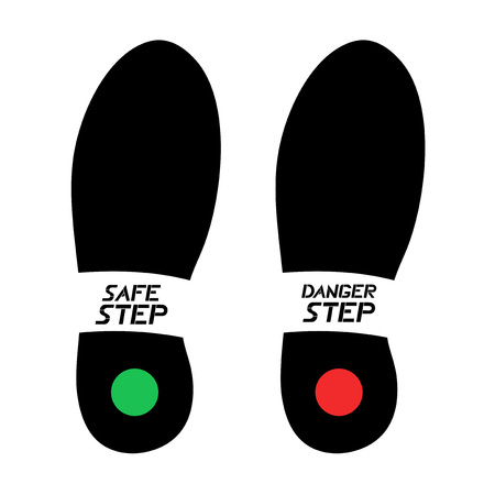 safe and danger footstep symbols