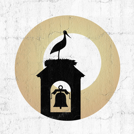 stork in tower bell illustration Stock Photo